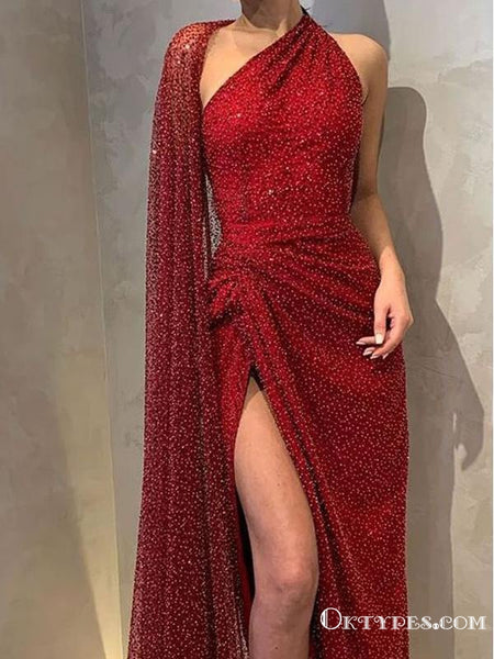 Hot Selling New Arrival Sparkly Red Sequin High Side Slit Long Cheap A-line Evening Prom Dresses, TYP2107