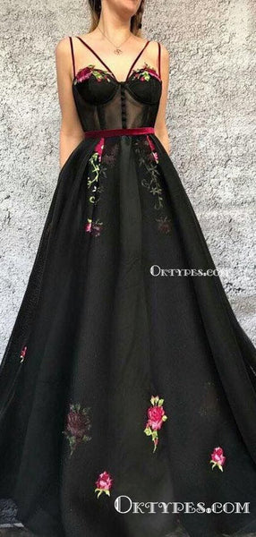 2019 A Line Prom Dress, Black Cheap Long Prom Dress, Sexy Spaghetti Strap Tulle Prom Dresses, TYP0382