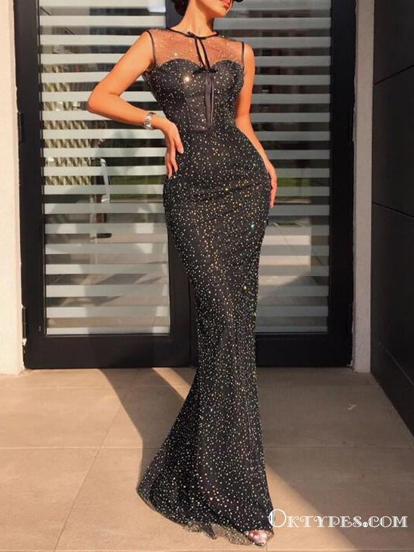 Black Sparkly Heavy Beaded High Neck Sleeveless Long Cheap Tulle Formal Evening Prom Dresses, TYP2099