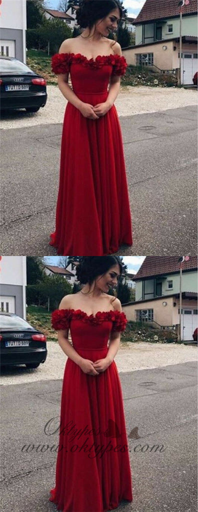 A-Line Off-the-Shoulder Dark Red Chiffon Prom Dresses with Flower, TYP1304