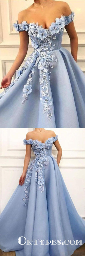 Light blue Off Shoulder A-line Long Prom Dresses With Flower Appliques, TYP1691