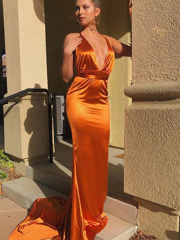 Sexy V-neck Open Back Ornage Mermaid Long Cheap Formal Evening Dresses Prom Dresses, PDS0055