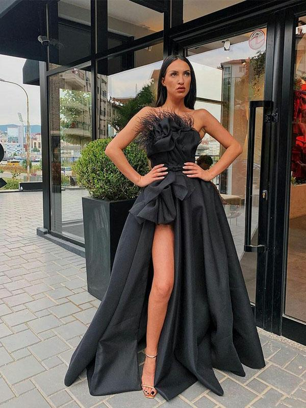 2020 Strapless Feather Draped Satin Black High Split Custom Made Formal Party Gowns Prom Dresses, PDS0065