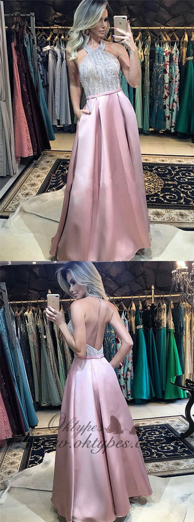 Sparkle Halter Pink Backless Prom Dresses with Pockets, TYP1502