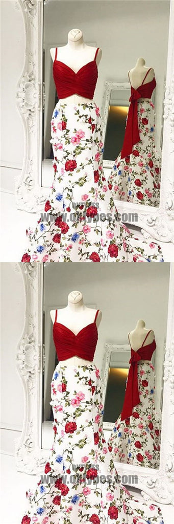 2 pieces Spaghetti Red Top Floral Mermaid Skirt Prom Dresses, Popular Prom Dresses, TYP0454