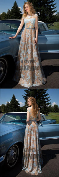 Charming Cap Sleeve Blue Lace Open Back A-Line Tulle Scoop Floor-Length Prom Dresses, TYP0463