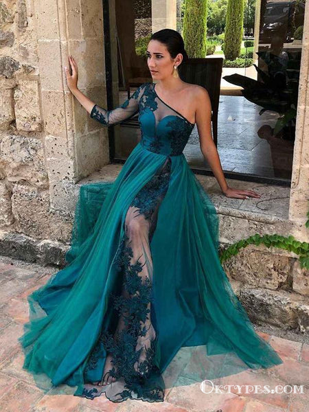 Emerald Green One Shoulder Sexy See Through Lace Appliques Long Sleeve A-line Long Prom Dresses, PDS0050