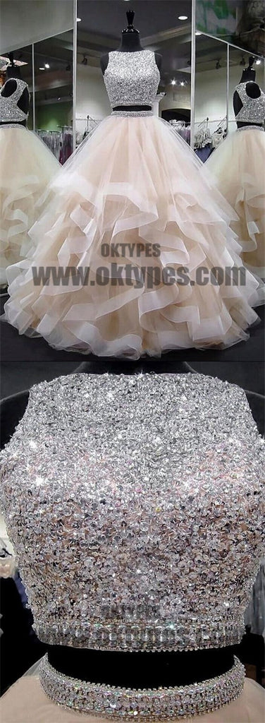 Two Piece A-line Beading Prom Dresses, Open-back Prom Dresses, Prom Dresses, TYP0475
