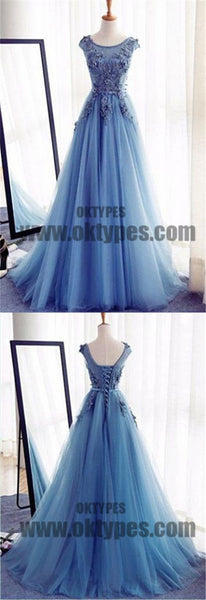 Charming Scoop Appliques Ball Gown Tulle Prom Dresses, Lace Up Prom Dresses, TYP0485