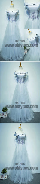 Light Blue A-line Top Satin Appliques Tulle Prom Dresses, Off Shoulder Lace Up Tulle Prom Dresses, TYP0501