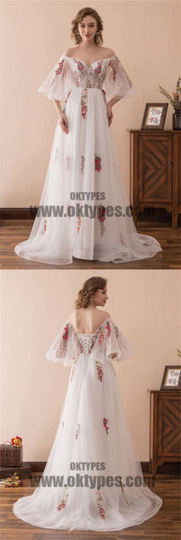 White Long mermaid Off Shoulder Half Sleeve Backless Lace Up Appliques Prom Dresses, TYP0503