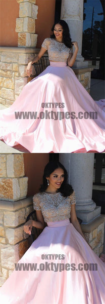 Two Piece Top Beaded Pink Satin Prom Dresses, Short Sleeve Scoop Prom Dresses, TYP0578