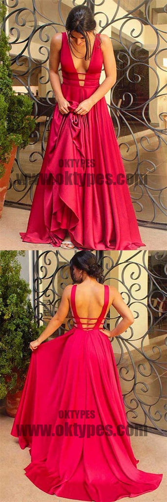 Red Spaghetti Strap V-neck Backless Prom Dresses, Long Mermaid Soft Satin Prom Dresses, TYP0579