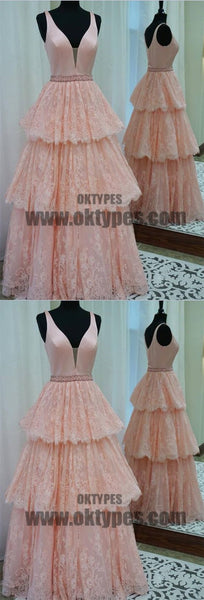 Beautiful V-neck Satin Top Cupcake Dress With Beaded, Charming Lace Appliques Prom Dress, TYP0584