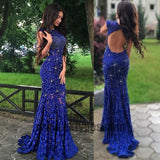 Royal Blue Lace Prom Dresses, Long Prom Dresses, Lace Formal Dresses,Open-back Beading Evening Dresses, TYP0056