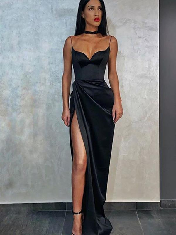 Sheath Sexy V-neck Side Slit Black Soft Satin Long Cheap Evening Dresses, Prom Dresses, PDS0054