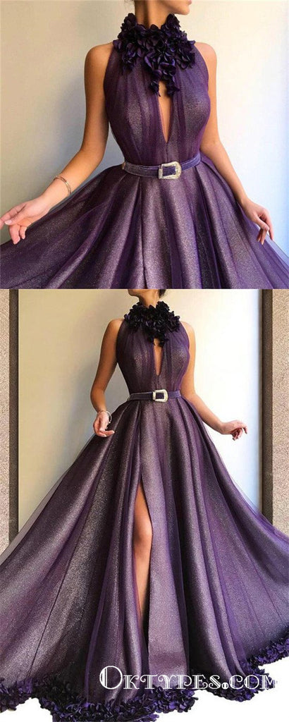 Purple Long A-line Split Cheap Prom Dresses With Flowers, TYP1750