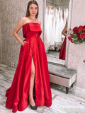 Charming Simple Red Satin Strapless Sleeveless A-line Long Cheap Side Slit Prom Dresses With Pockets, PDS0036
