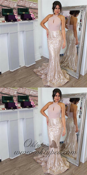 Mermaid Halter Sleeveless Sweep Train Blush Lace&Sequin Prom Dresses, TYP1251