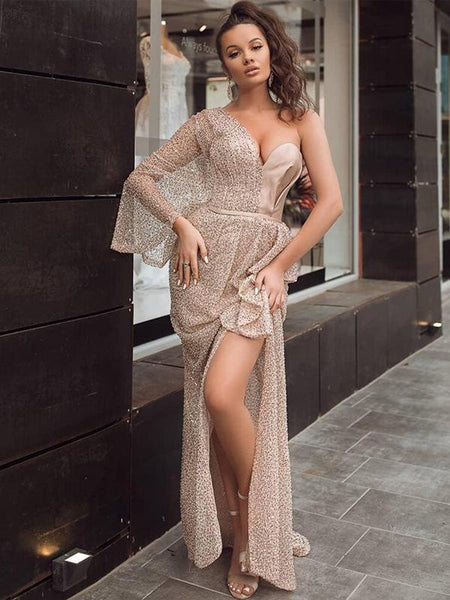 Sparkly Champagne Sequin One Shoulder Long Sleeves Sexy Side Slit Long Cheap Prom Dresses, PDS0072