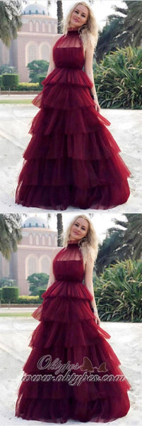 2019 Newest Burgundy Halter Tulle long cheap Cake Prom Dresses, TYP1424