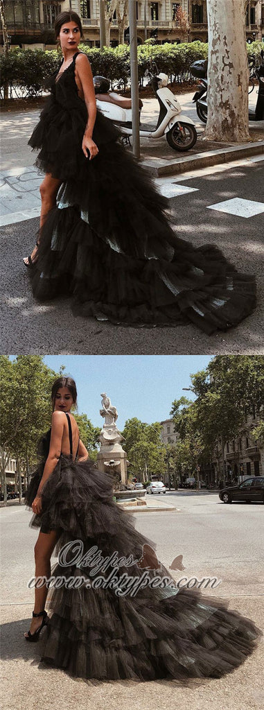 A-Line V-Neck High Low Backless Black Tulle Prom Dresses, TYP1519