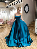 Newest A-Line Chic Scoop Criss Cross Straps Long Simple Long Cheap Satin Prom Dresses with Pockets, PDS0031