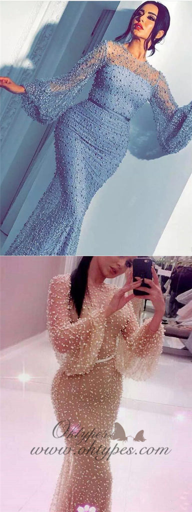 Unique Long Sleeve Blue long Mermaid Prom Dresses Online, TYP1466