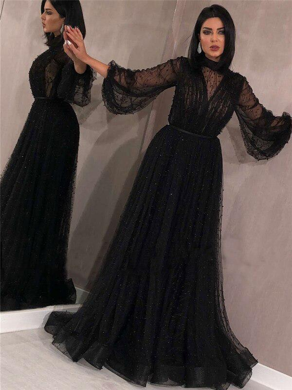 New Arrival Black High Neck Long Sleeves A-line Black Tulle Long Cheap Prom Dresses With Beaded, PDS0068
