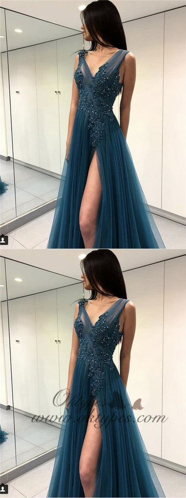 Long See Through Thigh Slit Blue Prom Dresses Backless Beaded Lace Prom Dresses, TYP1199