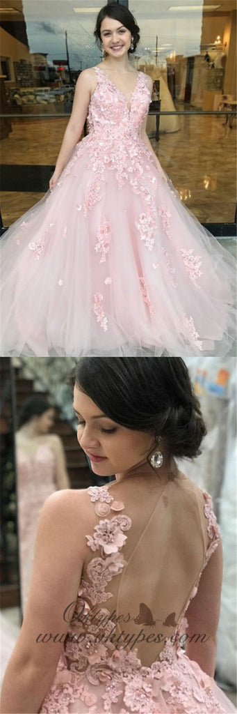 A-Line Deep V-Neck Long Cheap Pink Tulle Open Back Prom Dresses with Appliques, TYP1355