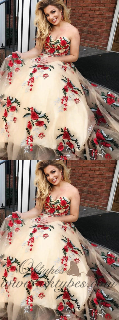 Charming Sweetheart Floral Flower Applique Long Prom Dresses, TYP1467
