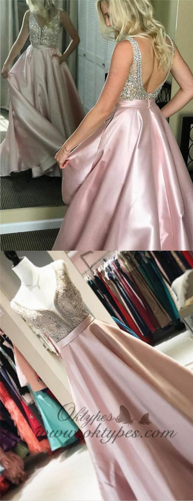 A-Line V-Neck Long Cheap Pink Satin Prom Dresses with Beading, TYP1296