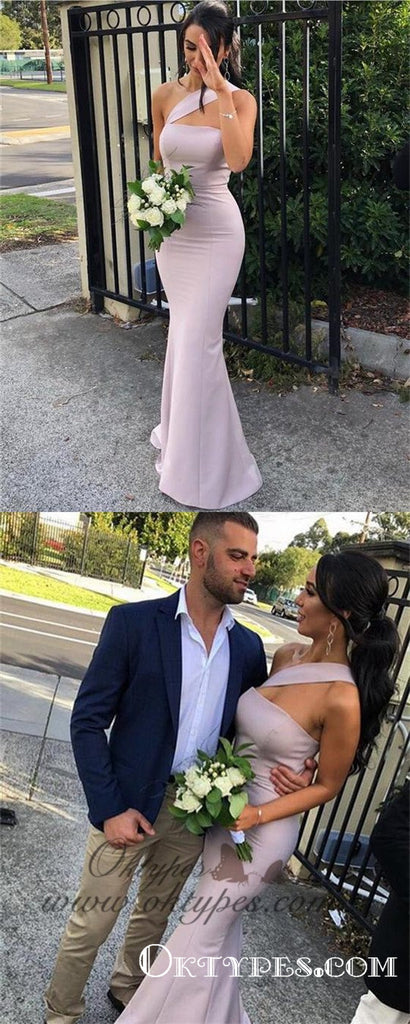 Charming One Shoulder Blush Pink Long Tight Prom Dresses, TYP1577
