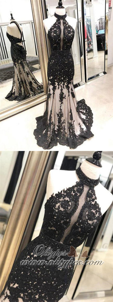 Black Lace Mermaid Halter Open Back Evening Prom Dresses, TYP1445