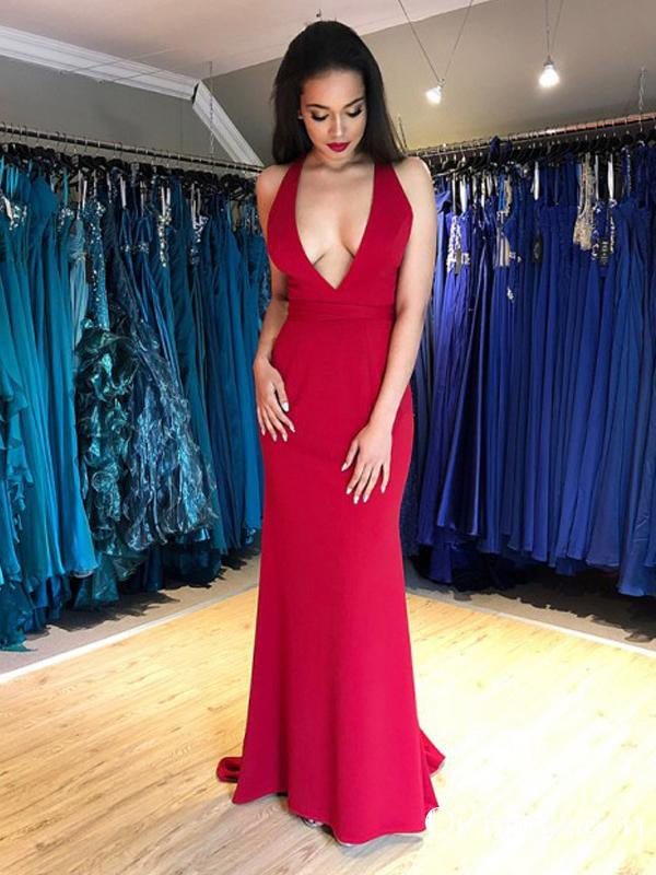 Charming Backless Red Mermaid Satin Sexy Deep V-neck Lace Up Back Long Cheap Formal Prom Dresses, PDS0044