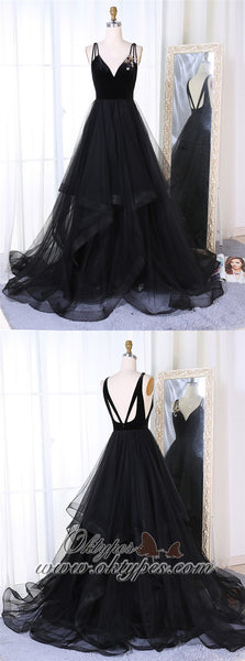 A-Line V-Neck Sweep Train Pleated Tiered Black Tulle Prom Dresses, TYP1397