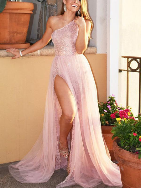 One Shoulder Sparkly Pink Sequin Sexy Side Slit A-line Long Cheap Formal Evening Prom Dresses, PDS0078