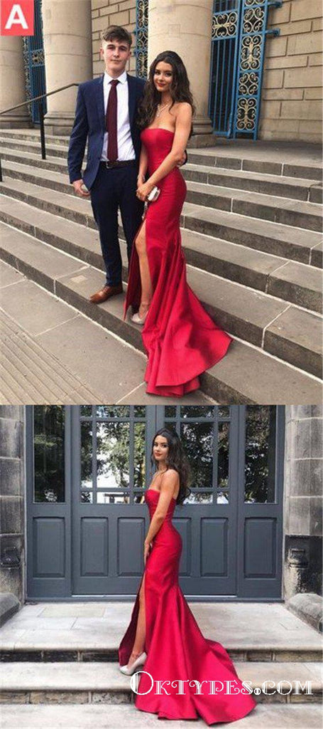 Simple Red Long Cheap Mermaid Strapless Prom Dresses Online, TYP1842