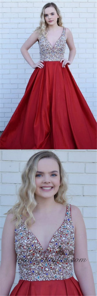 A-Line Deep V-Neck Long Cheap Red Satin Backless Prom Dresses with Beading, TYP1351