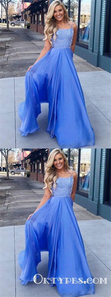 A-Line Spaghetti Straps Sleeveless Blue Floor Length Prom Dresses, TYP1870