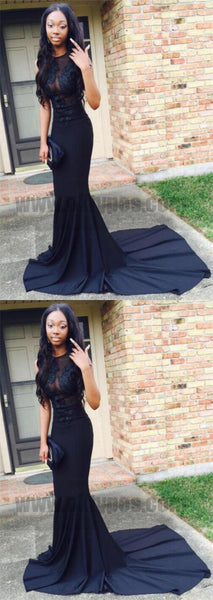 Gorgeous Black Long Tight Mermaid Prom Dresses Evening Dresses Party Dresses, TYP0750