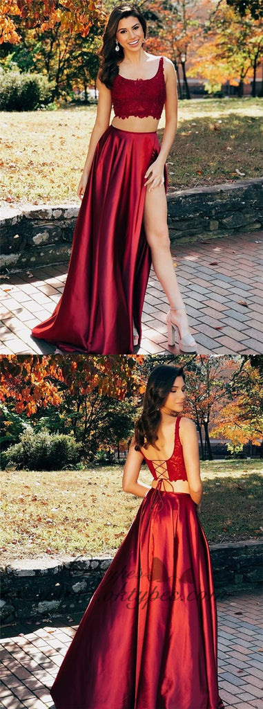Two Pieces Scoop Sleeveless Burgundy Split Criss Cross Back Prom Dresses, TYP1521