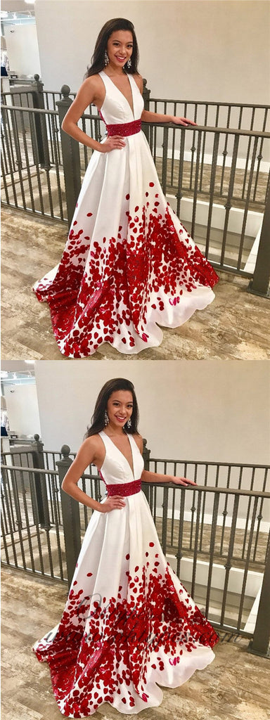 Red Beaded Floral Printed Long Prom Dresses with Deep V-Neck Formal Dress Plus Size, TYP1227