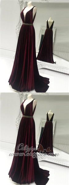 Elegant V-neck Velvet Long A-line Beaded Prom Dresses, TYP1573