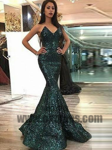 Sparkly V Neck Green Sequin Custom Long Evening Prom Dresses, Sexy Sleeveless Prom Dresses, TYP0398