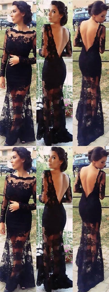 Black Scoop Long Sleeve V-back lace Cheap Prom Evening Dresses Online, TYP1130