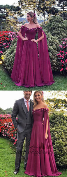2019 Chic Grape Off The Shoulder long cheap Prom Evening Dresses, TYP1470