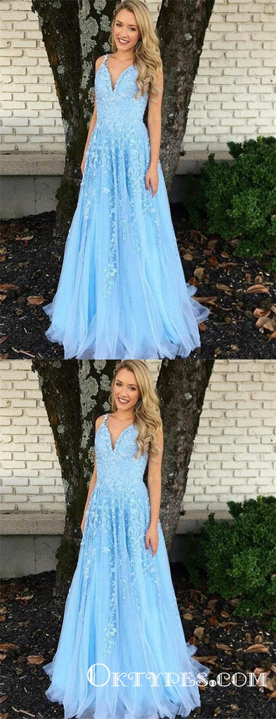 Elegant V Neck Blue Tulle Long Cheap Prom Dresses With Appliques, TYP1820