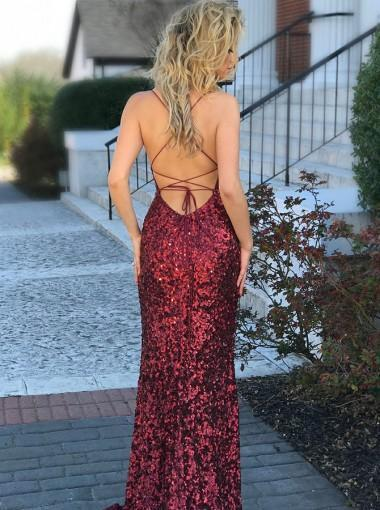 Long Mermaid Prom Dresses, Spaghetti Strap Prom Dresses, Sequin Prom Dresses, Backless Prom Dresses, TYP0220